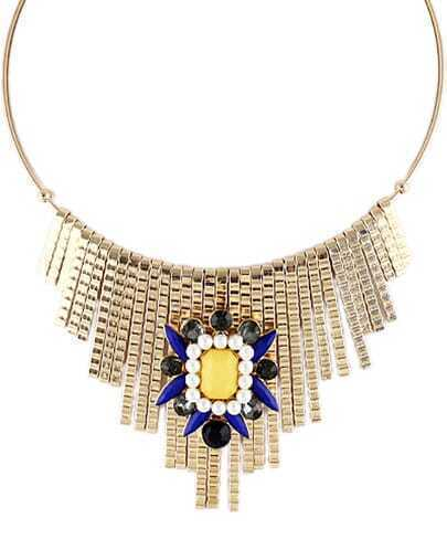 Gold Gemstone Tassel Collar Necklace