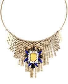Gold Gemstone Tassel Collar Necklace
