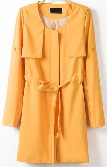 Yellow Long Sleeve Drawstring Trench Coat