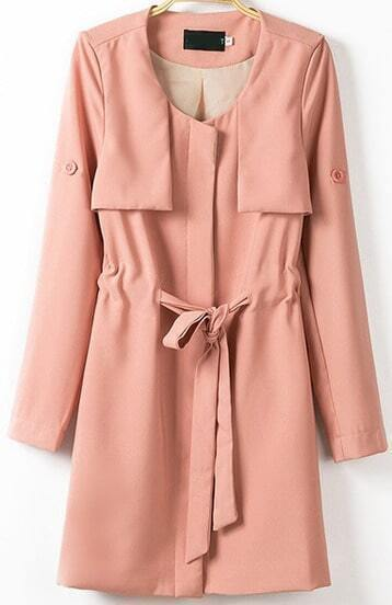 Pink Long Sleeve Drawstring Trench Coat