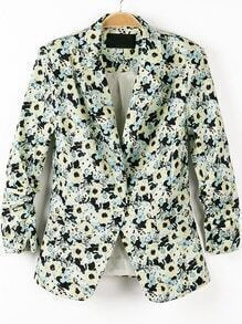 Green Notch Lapel Half Sleeve Floral Blazer