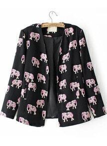 Black Long Sleeve Elephants Print Fitted Blazer
