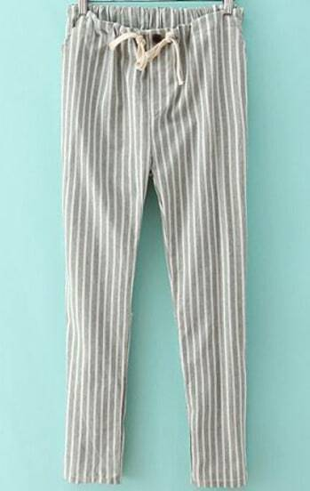 Light Green Drawstring Waist Vertical Stripe Pant