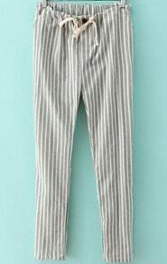 Light Green Drawstring Waist Vertical Stripe Pant