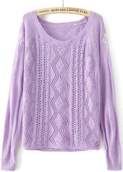 Purple Long Sleeve Embroidered Hollow Knit Sweater