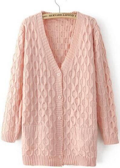 Jersey punto Cable cuello pico-rosado