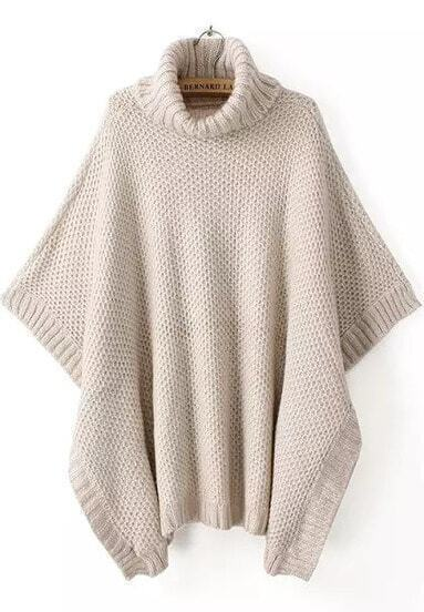 Apricot High Neck Batwing Sleeve Knit Sweater
