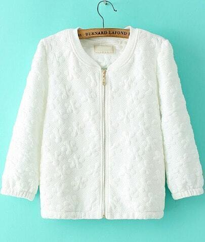 White Half Sleeve Zipper Jacquard Jacket
