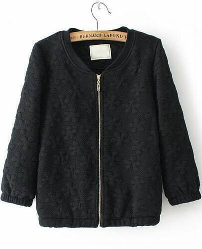Black Half Sleeve Zipper Jacquard Jacket