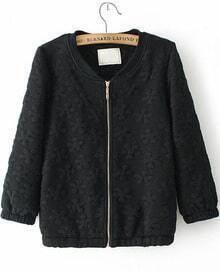 Black Half Sleeve Zipper Jacquard Jacket