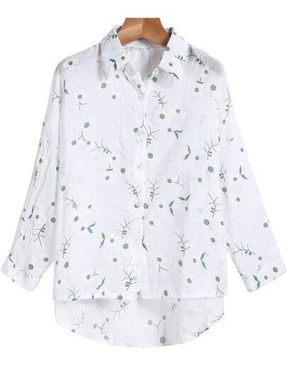 White Lapel Long Sleeve Green Embroidered Blouse