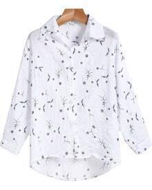White Lapel Long Sleeve Blue Embroidered Blouse