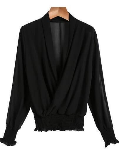 Black V Neck Long Sleeve Pleated Chiffon Blouse