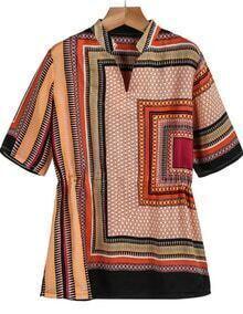 Red Short Sleeve Vintage Tribal Print Blouse
