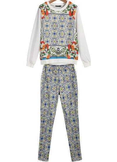 White Long Sleeve Floral Top With Elastic Waist Pant