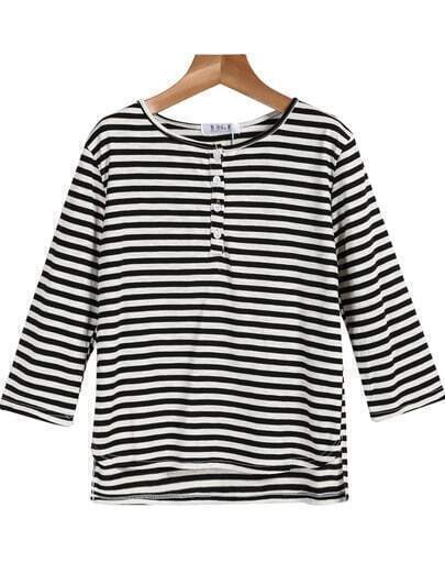 Black White Long Sleeve Striped Loose T-Shirt