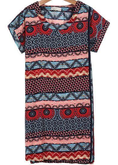 Red Short Sleeve Vintage Totem Print T-Shirt