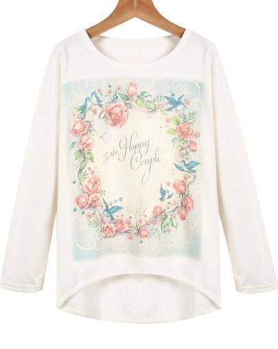 White Long Sleeve Floral Loose T-Shirt