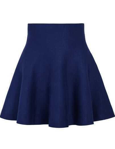 Blue High Waist Ruffle Skirt