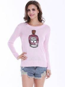 Pink Long Sleeve Perfume Sequined Sweater