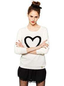 Beige Long Sleeve Black Heart Print Sweater