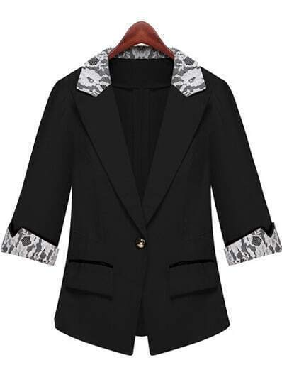 Black Lapel Half Sleeve Lace Fitted Blazer