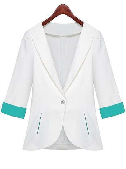 White Lapel Half Sleeve Pockets Fitted Blazer