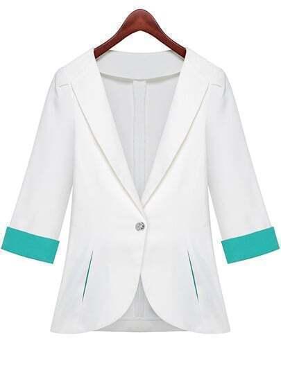 White Lapel Half Sleeve Pockets Fitted Blazer