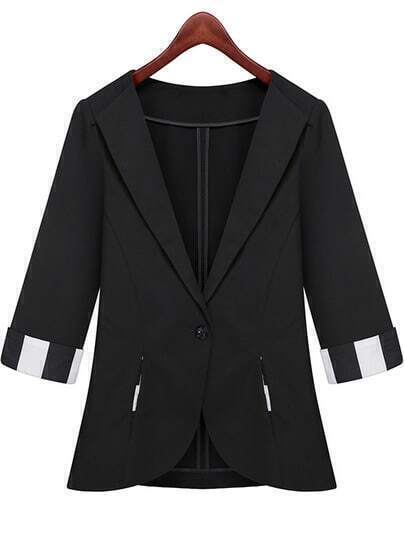 Black Lapel Half Sleeve Pockets Fitted Blazer