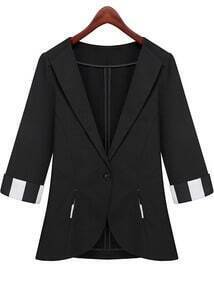 Black Lapel Half Sleeve Pockets Fitted Blazer