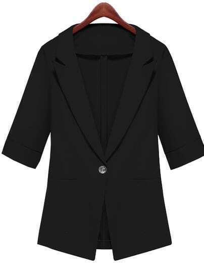 Black Notch Lapel Half Sleeve Fitted Blazer