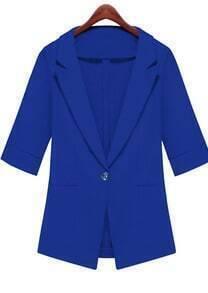 Blue Notch Lapel Half Sleeve Fitted Blazer