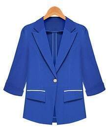 Blue Notch Lapel Fitted Puff Sleeve Blazer