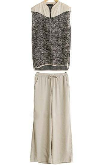 Grey Sleeveless Top With Drawstring Waist Loose Pant