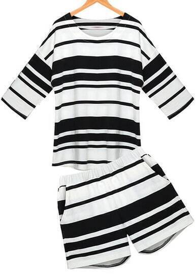 Black White Striped Loose Top With Shorts
