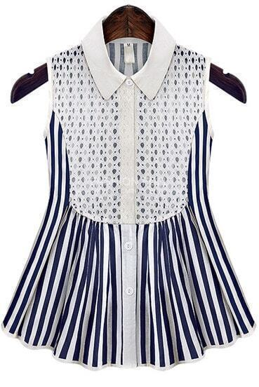 Blue Lapel Sleeveless Lace Vertical Stripe Blouse