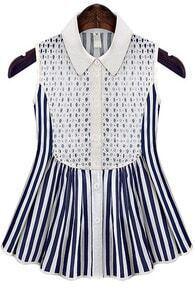 Blue Lapel Sleeveless Lace Vertical Stripe Blouse