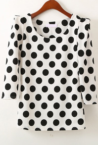 White Half Sleeve Polka Dot Slim Blouse