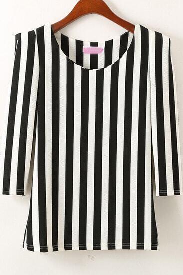 Black Half Sleeve Vertical Stripe Slim Blouse