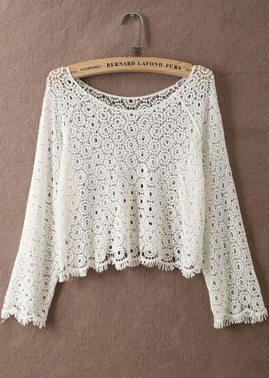 White Sheer Hollow Floral Crochet Blouse