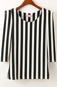 Black Half Sleeve Vertical Stripe Slim Blouse