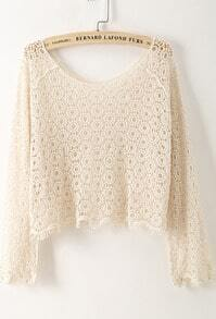 Apricot Sheer Hollow Floral Crochet Blouse