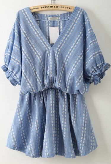 Blue V Neck Batwing Sleeve Embroidered Dress