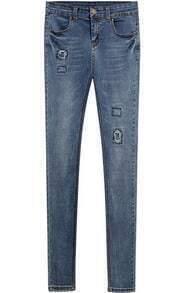 Blue Pockets Slim Ripped Denim Pant