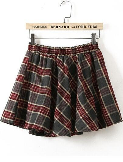 Green Red Elastic Waist Plaid Flare Skirt