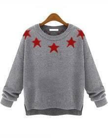 Grey Long Sleeve Stars Print Knit Sweater