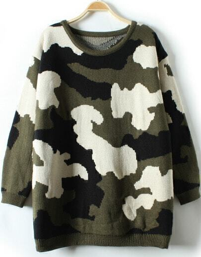 Green Long Sleeve Camouflage Loose Knit Sweater