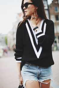 Black V Neck Long Sleeve Loose Boyfriend Sweater