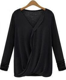 Black V Neck Long Sleeve Contrast Chiffon Blouse
