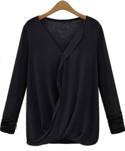 Black V Neck Long Sleeve Contrast Chiffon Blouse